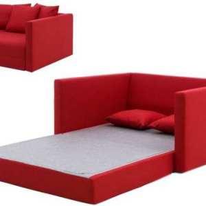 sofa cama rojo de dos plazas